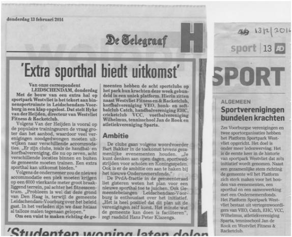 Persberichten Platform Sportpark Westvliet opgericht